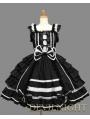 Black Bow Ruffles Sleeveless White Lace Sweet Gothic Lolita Dress