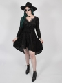 Black Vintage Gothic Flower Velvet Long Sleeve Plus Size High-Low dress