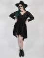 Black Vintage Gothic Flower Velvet Long Sleeve Plus Size High-Low dress