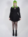 Black Gothic Punk Long Sleeve Short Plus Size Dress