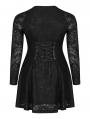 Black Gothic Punk Long Sleeve Short Plus Size Dress