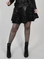 Black Gothic Punk Velvet Short Plus Size Skirt