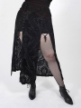 Black Vintage Gothic Velvet Long Slit Plus Size Skirt