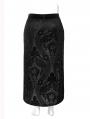 Black Vintage Gothic Velvet Long Slit Plus Size Skirt