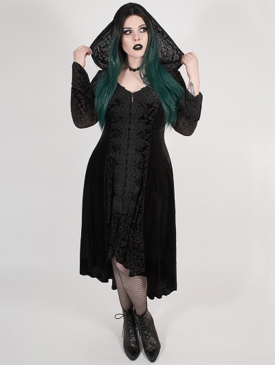 Black Gothic Chinese Style Dark Velvet Burning Out Long Plus Size Coat for Women