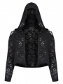 Black Gothic Chinese Style Hollow-out Short Plus Size Coat for Women