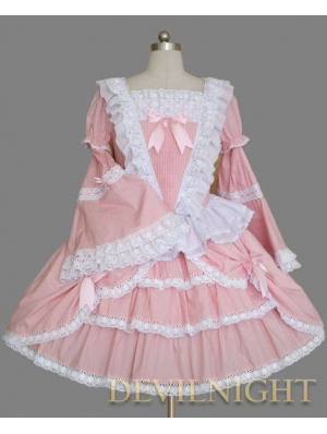 Pink and White Long Trumpet Sleeves Sweet Lolita Dress