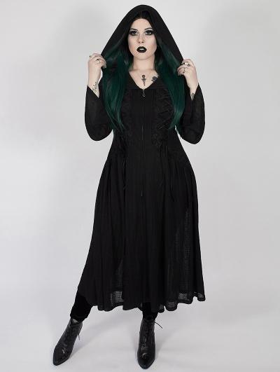 Black Gothic Dark Moon Long Hooded Plus Size Coat for Women