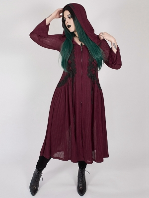 Red Gothic Dark Moon Long Hooded Plus Size Coat for Women