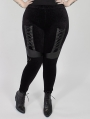 Black Gothic Punk Velvet Plus Size Leggings for Women