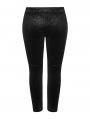 Black Gothic Punk Velvet Plus Size Leggings for Women