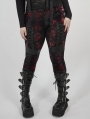 Red Plaid Gothic Punk Velvet Plus Size Leggings for Women