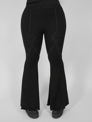 Dark Gothic Lace Plus Size Flared Pants for Women