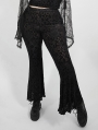 Dark Gothic Velvet Plus Size Flared Pants for Women