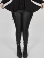 Black Gothic PU Leather Stretch Plus Size Legging for Women