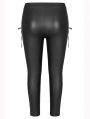 Black Gothic PU Leather Stretch Plus Size Legging for Women