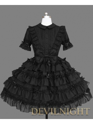 Black Short Sleeves Sweet Gothic Lolita Dress