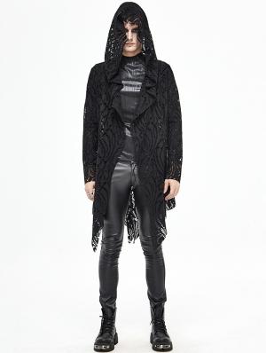 Black Gothic Hooded Long Trench Coat for Men