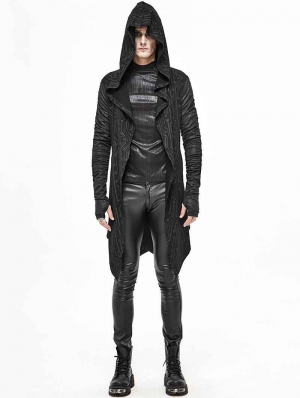 Black Gothic Punk Hooded Long Trench Coat for Men