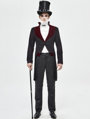 Black and Dark Red Vintage Gothic Party Swallow Tail Coat for Men
