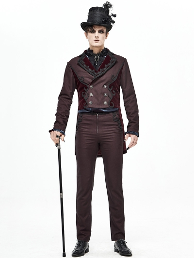 Dark Red Vintage Gothic Party Double-Breasted Tail Coat for Men