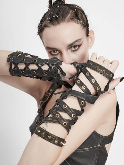 Brown PU Leather Gothic Punk Unisex Gloves