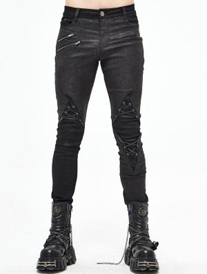 Black Gothic Punk Long Pants for Men