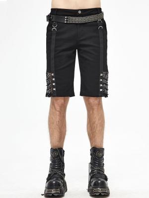 Black Gothic Punk Rock Daily Wear Short Pants for Men