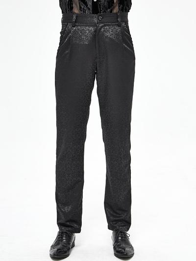 Black Vintage Pattern Gothic Long Pants for Men