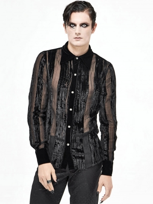 Black Vintage Gothic Gauze Long Sleeve Shirt for Men