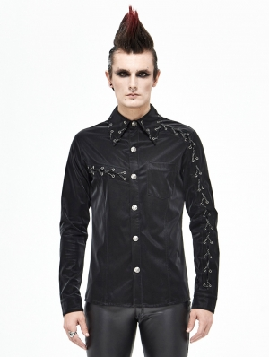 Black Gothic Punk Rock Long Sleeve Shirt for Men