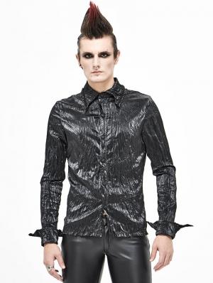 Black Gothic Long Sleeve Shirt for Men