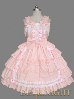 Pink Sleeveless Sweet Bow White Lace Sweet Lolita Dress