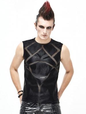 Black Gothic Punk Sleeveless T-Shirt for Men