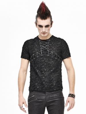 Black Gothic Punk Short Sleeve Daily Wear T-Shirt for Men