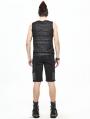 Black Gothic Punk Rock Chain Sleeveless T-Shirt for Men