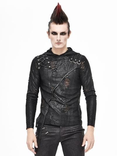 Black Gothic Punk Long Sleeve Hooded Irregular T-Shirt for Men