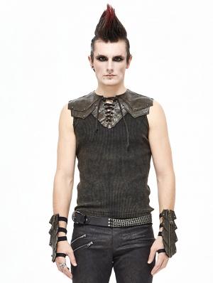 Brown Gothic Punk Sleeveless T-Shirt for Men