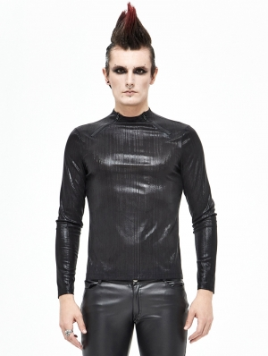 Black Gothic Daily Wear Long Sleeve T-Shirt for Men