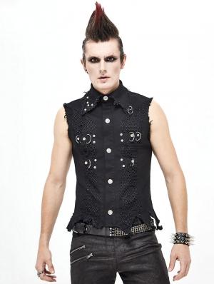 Black Gothic Punk Rock Vest Top for Men