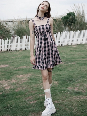 Black and Pink Plaid Street Fashion Cute Gothic Grunge Short Silp Dress