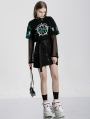 Street Fashion Gothic Grunge Long Sleeve Two-Pieces Short T-Shirt for Women
