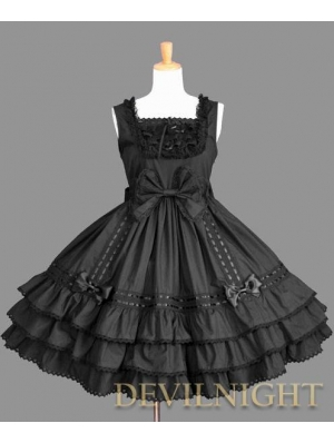 Black Sleeveless Lace Bow Sweet Gothic Lolita Dress