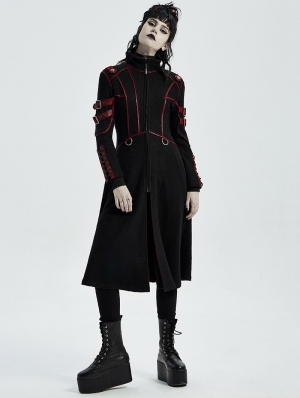 Black and Red Gothic Punk Military Casual Mid Length Coat for Women
