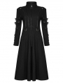 Black Gothic Punk Military Casual Mid Length Coat for Women