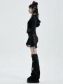 Black Gothic Punk Chain Hooeded Short Coat for Women