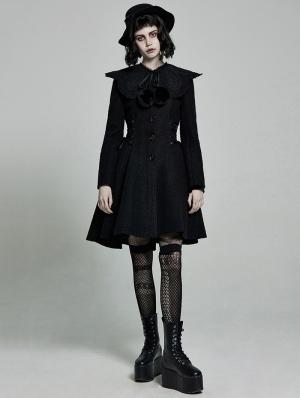 Black Gothic Lolita Mid Length Winter Warm Hooded Coat for Women