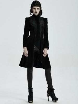 Black Vintage Gothic Velvet Mid Length Tail Coat for Women