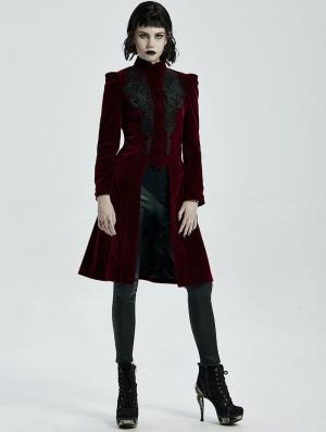 Dark Red Vintage Gothic Velvet Mid Length Tail Coat for Women