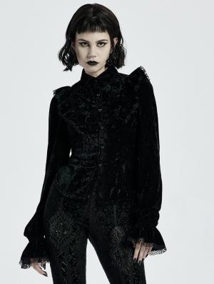 Black Gothic Gorgeous Velvet Long Sleeve Shirt for Women